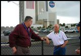 (Sep 22) With Story Musgrave at the Saturn/Shuttle 'Vertical Assembly Building' (VAB) at the Kennedy Space Center, Florida